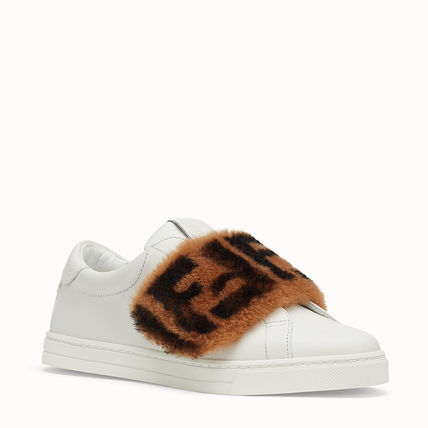 FENDI Low-Top Monogram Round Toe Rubber Sole Casual Style Plain Leather 7