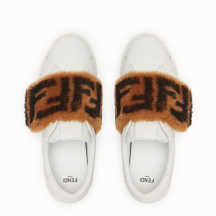 FENDI Low-Top Monogram Round Toe Rubber Sole Casual Style Plain Leather 9