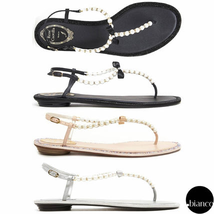 Open Toe Leather With Jewels Elegant Style Sandals