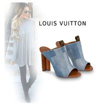 Louis Vuitton Casual Style Plain Block Heels Mules Heeled Sandals