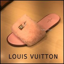 Louis Vuitton Faux Fur Elegant Style Mules Sandals Sandal