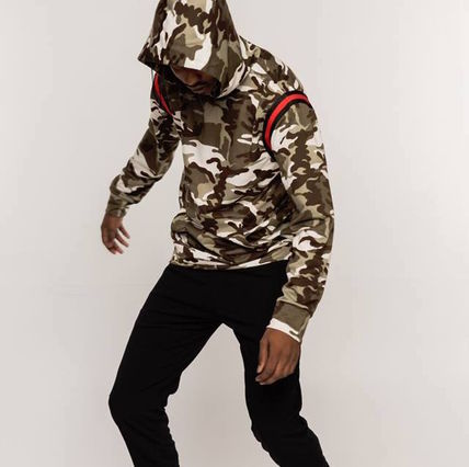 Pullovers Camouflage Unisex Street Style Long Sleeves