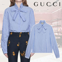 GUCCI Stripes Long Sleeves Cotton Office Style Shirts & Blouses