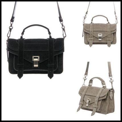 Casual Style Suede 2WAY Plain Shoulder Bags