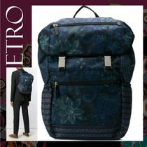 ETRO Flower Patterns Street Style A4 Backpacks