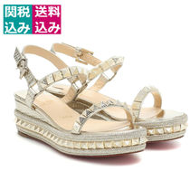 49c5695fd370 Christian Louboutin Pyraclou Open Toe Casual Style Blended Fabrics Studded  Leather