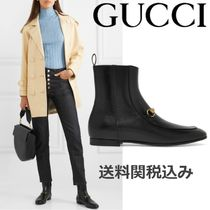 GUCCI Plain Toe Plain Leather Elegant Style Ankle & Booties Boots