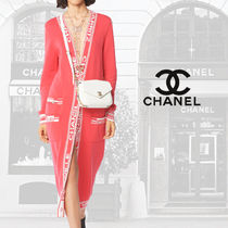 CHANEL Cashmere Blended Fabrics Street Style Long Sleeves Plain