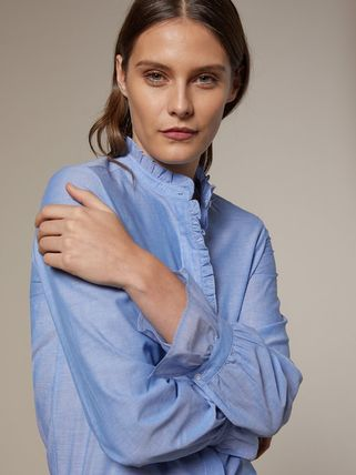 Casual Style Long Sleeves Cotton Shirts & Blouses