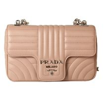 PRADA DIAGRAMME Studded Chain Plain Leather Elegant Style Shoulder Bags