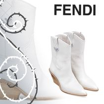 FENDI Plain Leather Ankle & Booties Boots