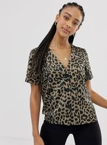 ASOS Leopard Patterns Casual Style Short Sleeves Shirts & Blouses
