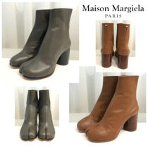 Maison Martin Margiela Tabi Plain Leather Block Heels Elegant Style High Heel Boots