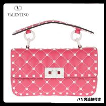 VALENTINO Casual Style Studded 2WAY Chain Leather Handmade Bags