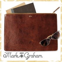 marc AND graham Unisex Plain Leather Clutches