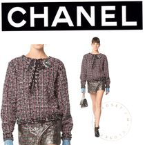CHANEL Other Check Patterns Tweed Street Style Long Sleeves Medium