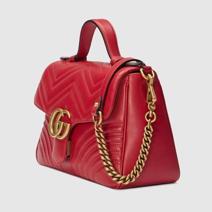 42a3f642e90 GUCCI GG Marmont 2WAY Plain Leather Elegant Style Handbags (498110 ...