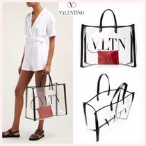VALENTINO Casual Style Unisex A4 Plain PVC Clothing Totes
