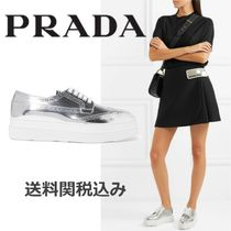 PRADA Platform Lace-up Blended Fabrics Plain Leather Elegant Style