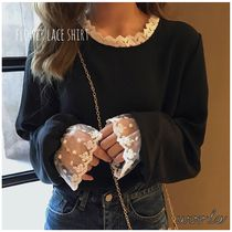 Casual Style Long Sleeves Plain Medium Lace Shirts & Blouses
