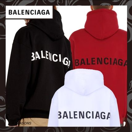 BALENCIAGA Hoodies Long Sleeves Plain Cotton Hoodies