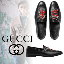 GUCCI Moccasin Chain Other Animal Patterns Leather