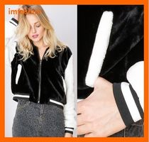 Storets Short Faux Fur Street Style Bi-color Plain Varsity Jackets