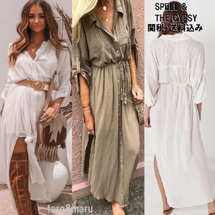 Casual Style Long Sleeves Plain Long Fringes Shirt Dresses