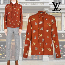 Louis Vuitton Silk Long Sleeves Medium Elegant Style Shirts & Blouses