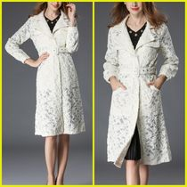 Flower Patterns Medium Party Style Midi Peacoats