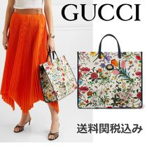 GUCCI Flower Patterns Canvas Elegant Style Totes