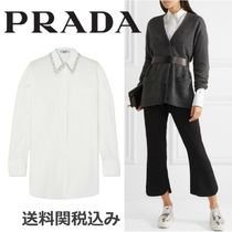 PRADA Blended Fabrics Long Sleeves Plain Cotton With Jewels