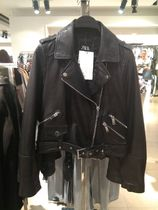 ZARA Unisex Plain Leather Biker Jackets