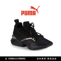 PUMA Stripes Round Toe Rubber Sole Lace-up Casual Style