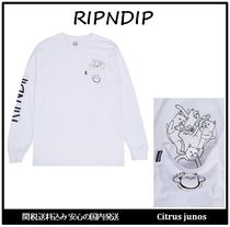 RIPNDIP Crew Neck Unisex Street Style Long Sleeves Cotton Oversized