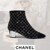 CHANEL Other Check Patterns Round Toe Suede Block Heels