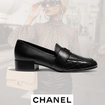 CHANEL Other Check Patterns Round Toe Plain Leather Block Heels