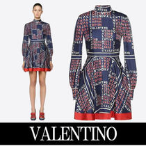 VALENTINO Short Silk Long Sleeves Home Party Ideas High-Neck
