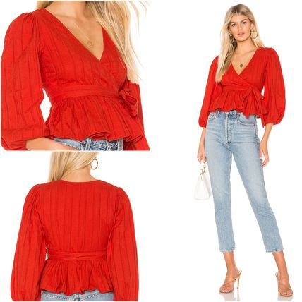 Short Casual Style Peplum Plain Cotton Puff Sleeves Cropped