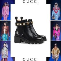 GUCCI Rubber Sole Casual Style Blended Fabrics Plain Leather