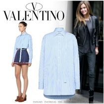 VALENTINO Stripes Long Sleeves Cotton Long Oversized Shirts & Blouses