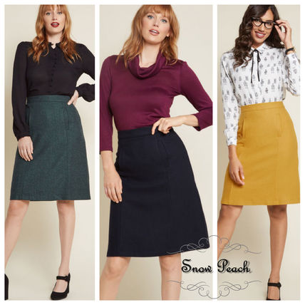 Wool Plain Medium Elegant Style Midi Skirts