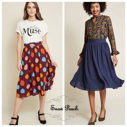 Flared Skirts Dots Plain Medium Elegant Style Midi Skirts
