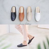 Round Toe Faux Fur Plain Office Style Loafer Pumps & Mules