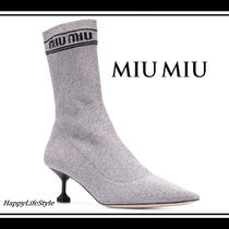 MiuMiu Plain Leather Elegant Style Ankle & Booties Boots