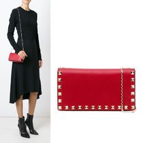 VALENTINO Studded Street Style 2WAY Chain Plain Leather Elegant Style