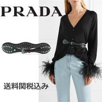 PRADA Blended Fabrics Plain Leather With Jewels Elegant Style