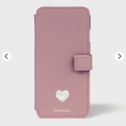 Heart Plain Leather iPhone 8 Smart Phone Cases