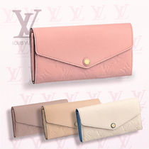 Louis Vuitton SARAH Plain Leather Long Wallets