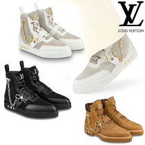 Louis Vuitton MONOGRAM Blended Fabrics Street Style Bi-color Chain Leather Sneakers